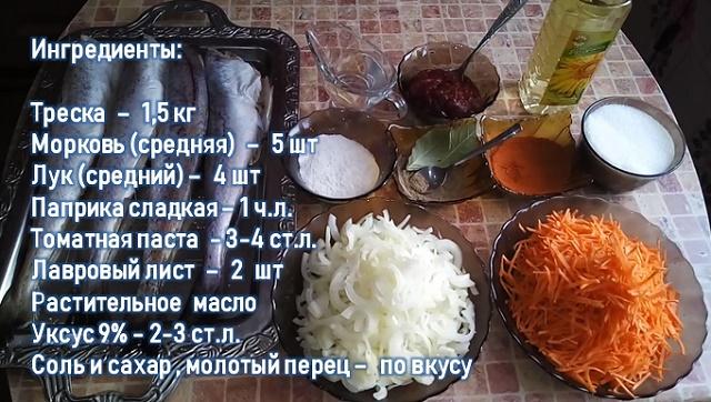Состав маринада с морковью и луком
