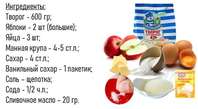 Состав творожной запеканки с яблоками