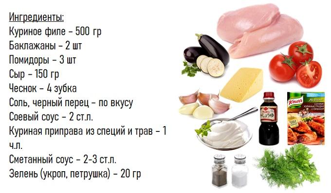 Куриная грудка запеченная с баклажанами