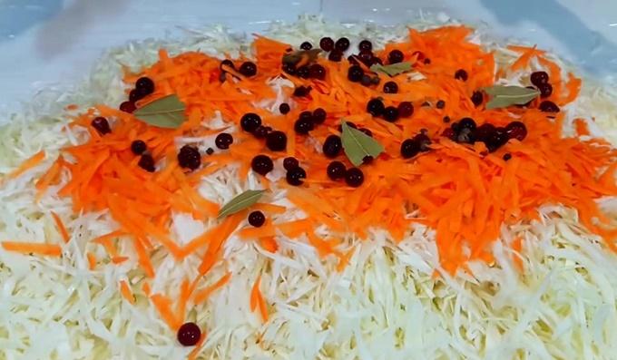 Добавим в заготовку ширкованную капусту, морковь, специи и клюкву