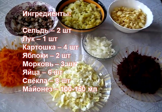 Шуба с яблоком и яйцом - ингредиенты