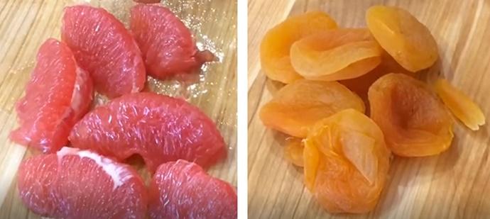 Добавляем грейпфрут и курагу