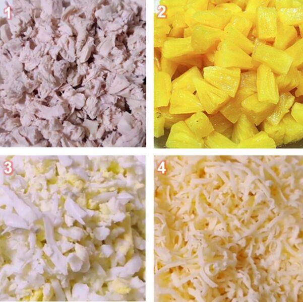 Нарезаем ананасы, сыр, курочку, яйца