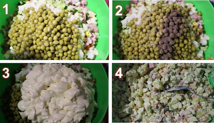 Пошаговое приготовление салата