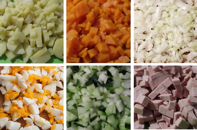 Измельчаем продукты для салата