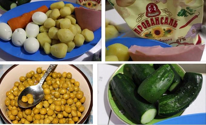 Состав продуктов для салата