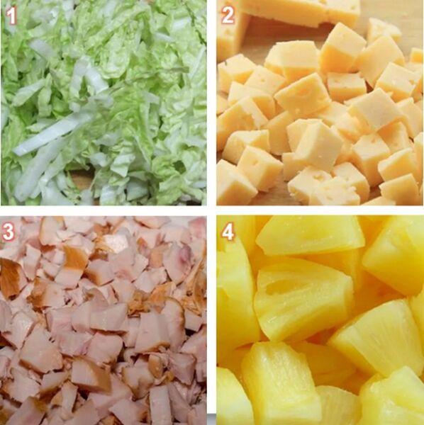 Нарезаем капусту, ананас, курочку и сыр