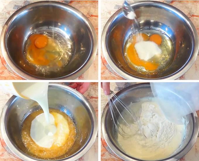 Смешиваем яйца, соль и сахар, наливаем кефир