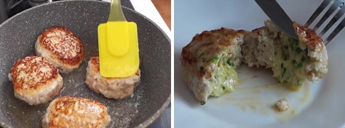 Готовые зажаренные котлетки с сыром