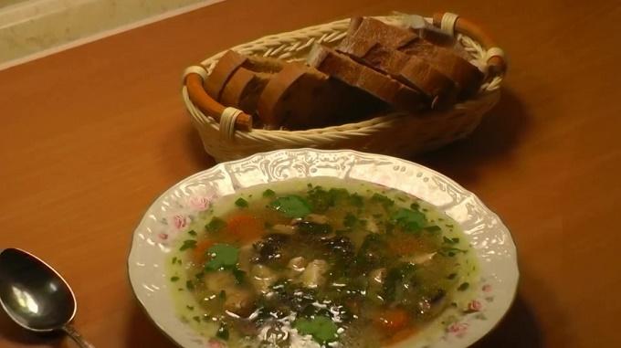 Готовый грибной суп на курином бульоне