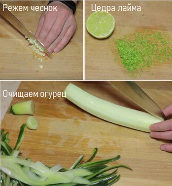 Подготовим лайм, чеснок и огурец для салата