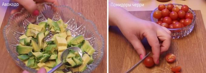 Нарежем на кубики авокадо, помидоры черри