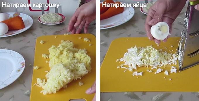 Нарезаем картошку и яйца