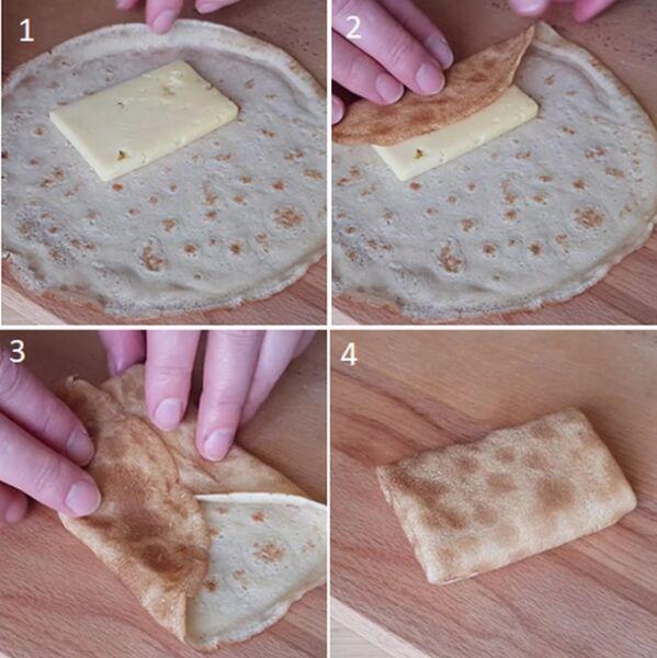 Готовый блинчик с сыром