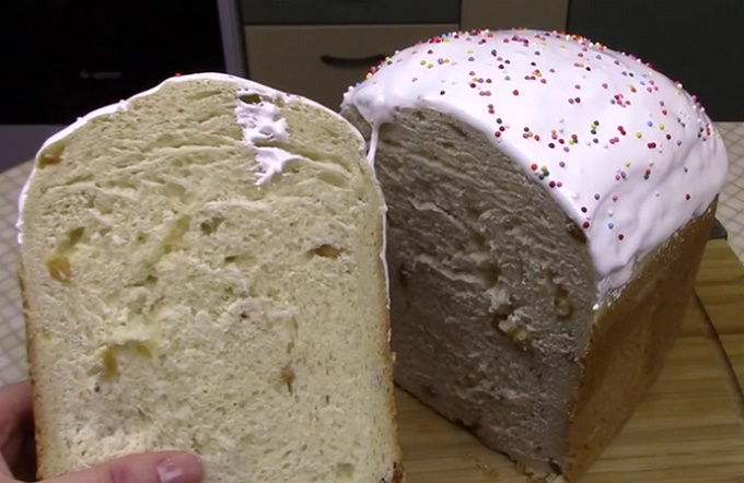 Готовый кулич из хлебопечки