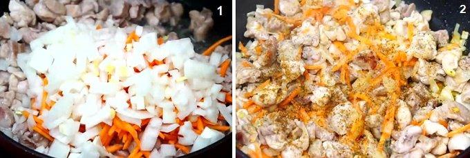 Обжариваем курицу, морковь, лук