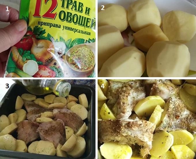 Запекаем морского окуня с картошкой