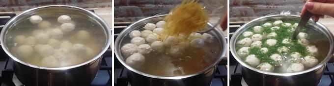 Варим суп с фрикадельками и вермишелью