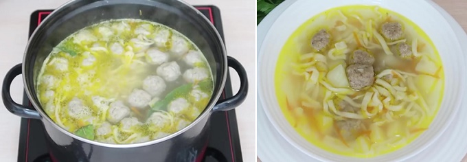 Готовый суп с фрикадельками и лапшой