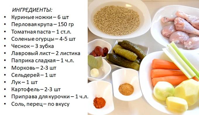 Ингредиенты для мультиварки