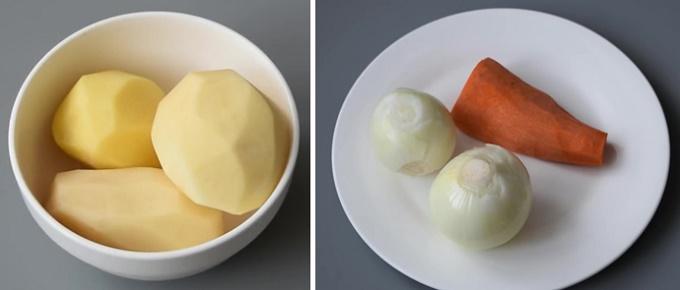 Морковь, картофель, лук