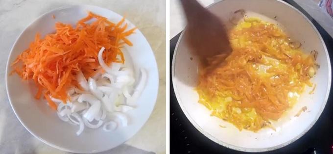 Делаем обжарку лука и моркови