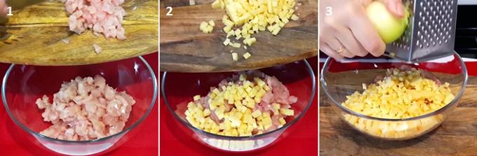 Режем мясо и сыр