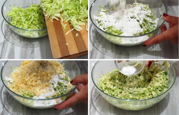 Добавляем в тесто сыр и кабачки
