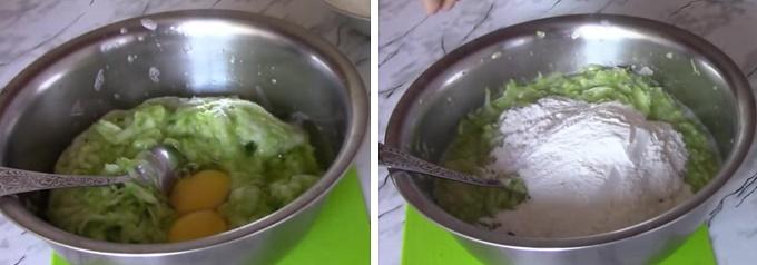 Добавляем яйца и муку