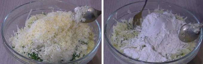 В готовую массу добавляем сыр и муку