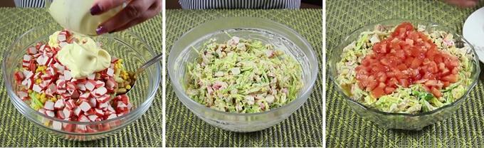 Готовый салат из крабовых палочек с сухариками