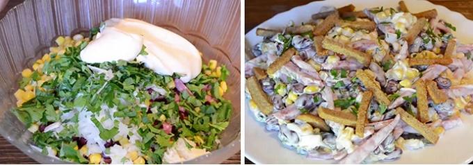 Приготовленный салат с фасолью и сухариками