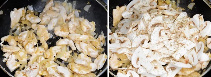 Курица и грибы на сковородке