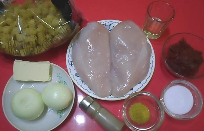 Курица с макаронами - ингредиенты
