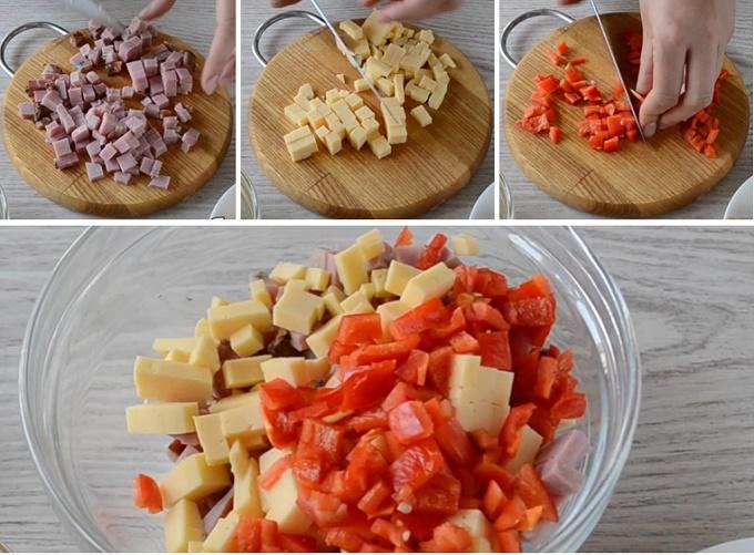 Нарезаем мясо, кукуруза, сыр
