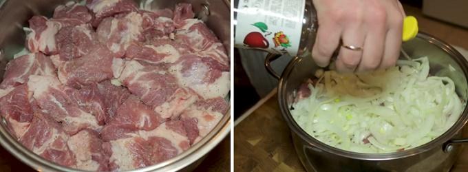 Последний слой мяса и лука