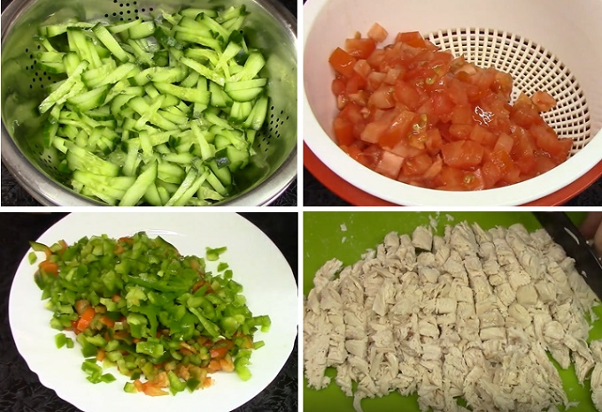 Салат с курицей и сухариками - измельчаем продукты
