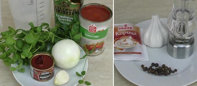 Специи и продукты для соуса