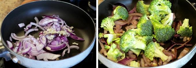 Тушим лук и капусту брокколи
