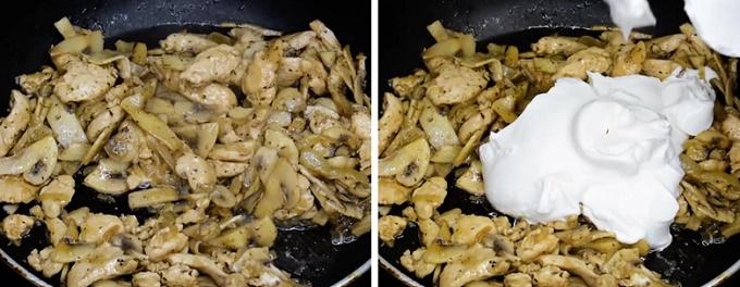Жареная куриная грудка с грибами в сметане
