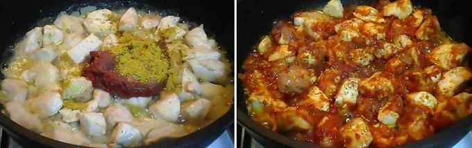 Добавляем томатную пасту и специи