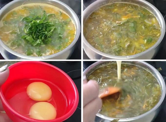 Добавляем в суп яйцо