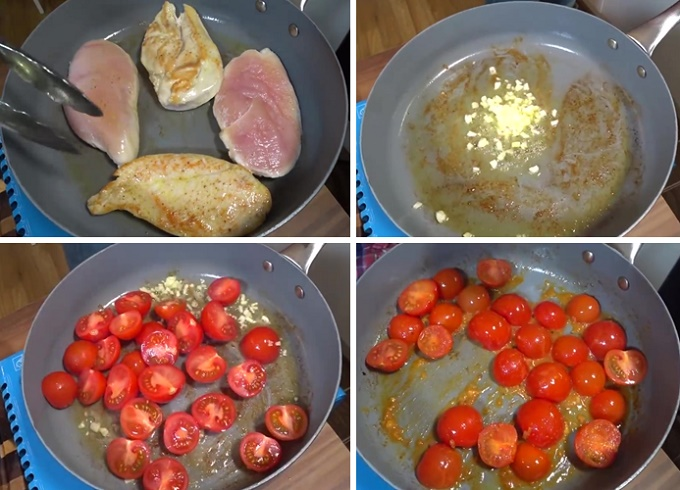 Обжариваем грудки, готовим соус