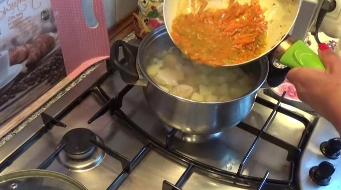 Отправляем поджарку у суп