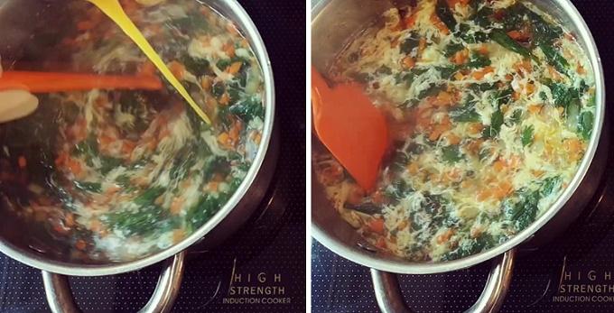 Вмешиваем яйцо в суп