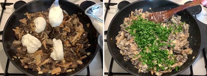 жарим грибы, добавляем петрушку