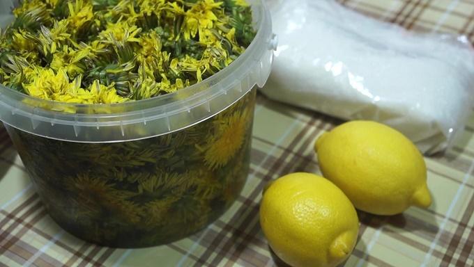 Готовое варенье из одуванчиков с лимоном - ингредиенты