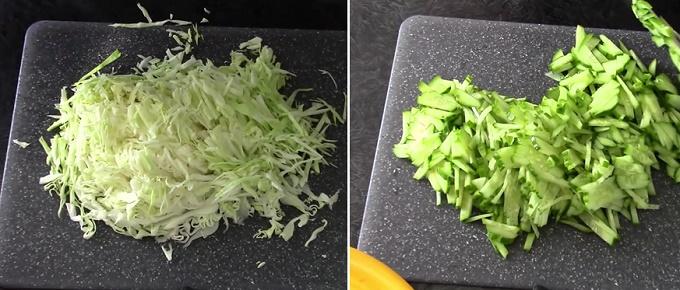 Шинкуем огурцы и капустку