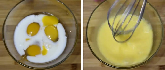 Готовим смесь для омлета из яиц и молока