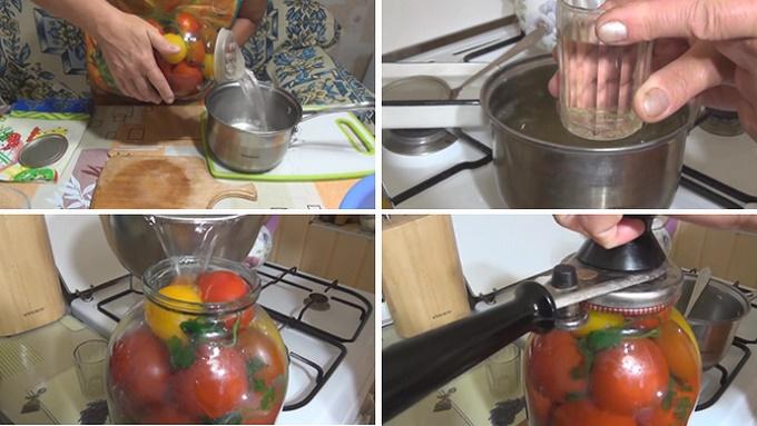 Заливаем маринадом банки с огурцами и помидорами